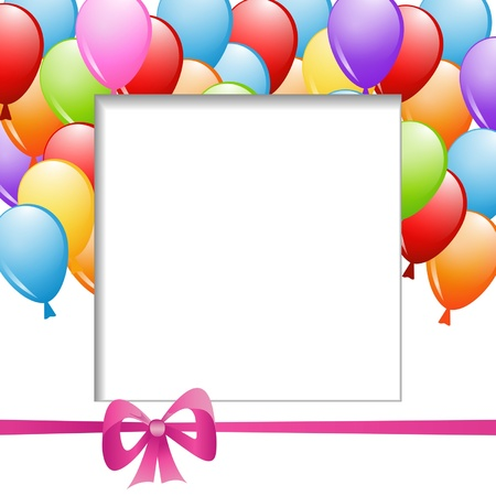 a frame with a group of balloons and a ribbon Vector
