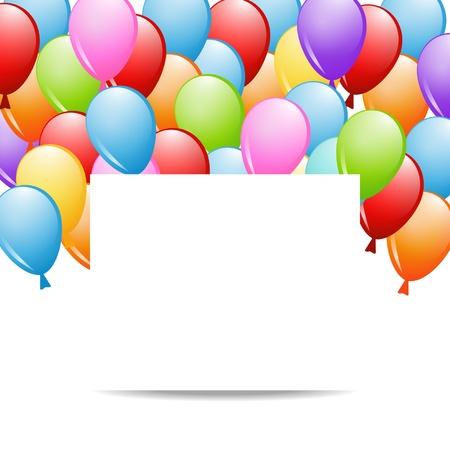 geburtstag rahmen: Hintergrund mit einer Gruppe von Ballons und einem Blatt Papier