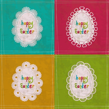 set of 4 vintage Easter greeting cards Stock Vector - 18003350