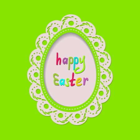 frame with lace on the green background for the Easter Stock Vector - 18003345