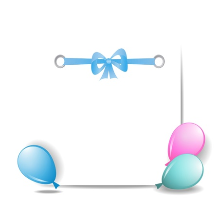 a sheet of paper with a ribbon and balloons