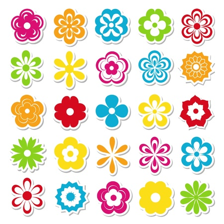 flower cartoon: conjunto de pegatinas de flores