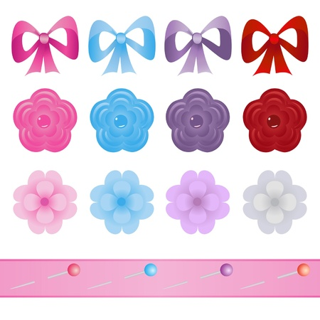 pink bow: set of bows, flowers and pins