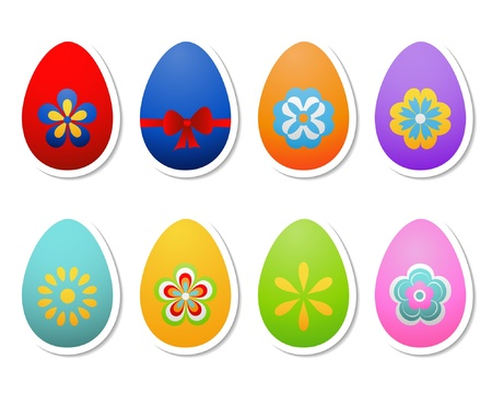 egg stickers with flowers Vector
