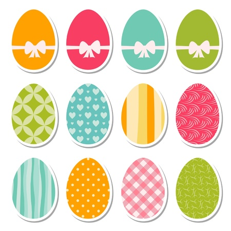 retro egg stickers Vector