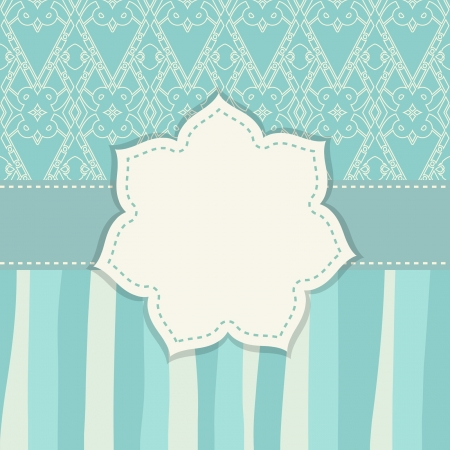 greeting card with patterns and a flower frame Vector