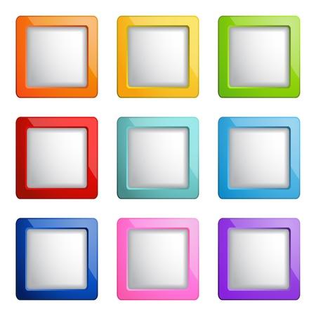 cuadrados: conjunto de botones de web cuadrados Vectores