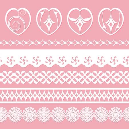 papel scrapbook: juego de cordones y los corazones de los libros de recuerdos Vectores