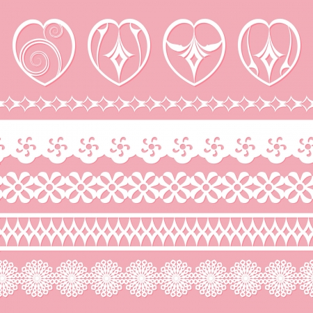 digital paper: set of laces and hearts for scrapbooks Illustration