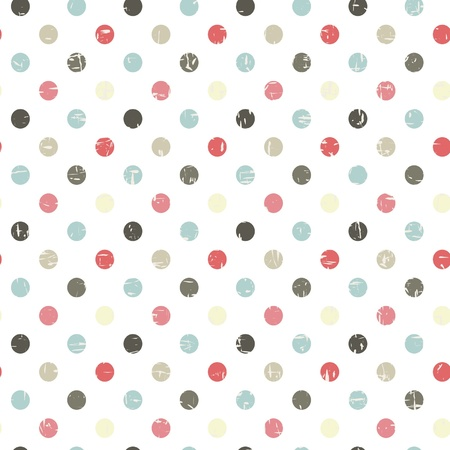 retro seamless pattern with polka dots  Vector