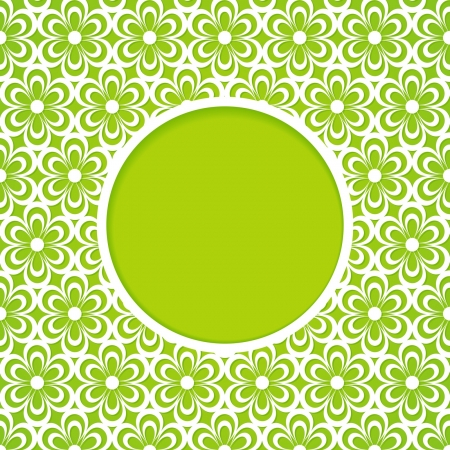 green frame with a flower pattern Vector
