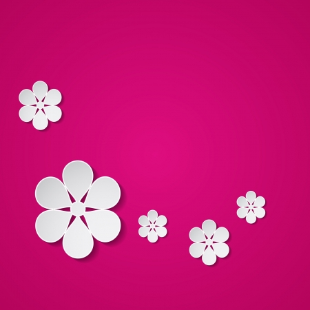 pink background with paper flowers Stock Vector - 18710430