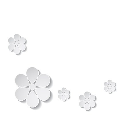 paper flowers on the white background Stock Vector - 18710428