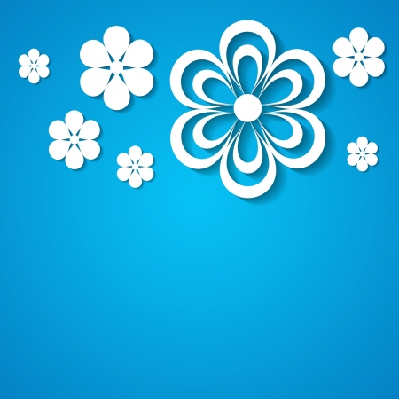 blue background with a border of paper flowers Stock Vector - 18710438
