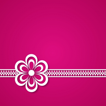 pink background with a lace and a flower Vector
