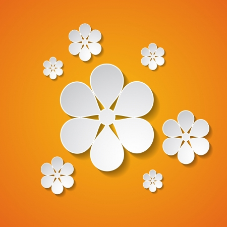 orange background with flowers Stock Vector - 18710432