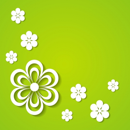 green background with paper flowers Stock Vector - 18710440