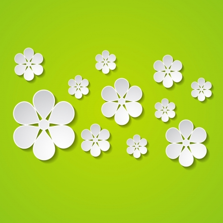 a group of paper flowers on the green background Stock Vector - 18710447