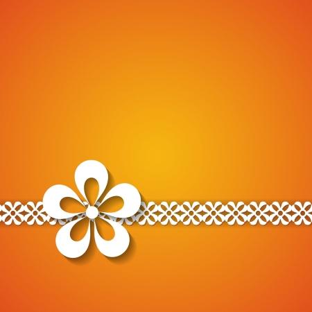 sfondo arancione con un pizzo e un fiore