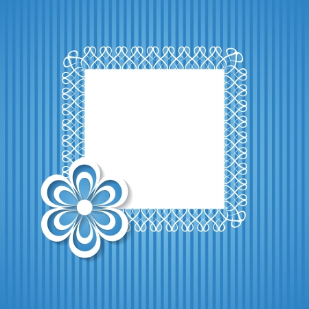 blue background with a frame and a flower Vector