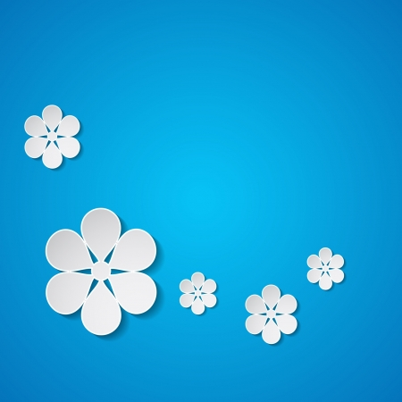 blue background with flowers Stock Vector - 18762923