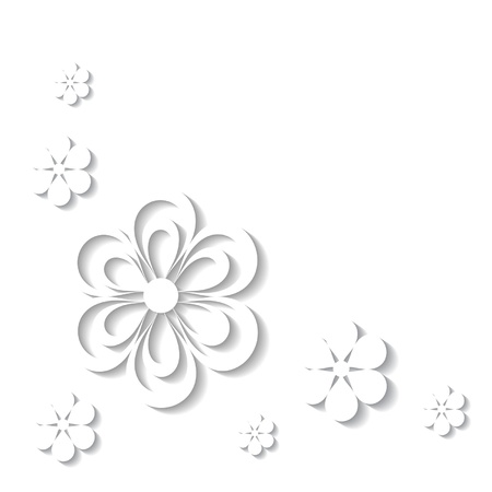 greeting card with white paper flowers Stock Vector - 18762925