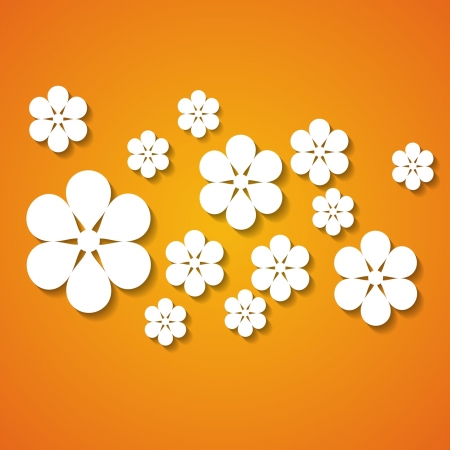 a group of flowers on the orange background Stock Vector - 18762942