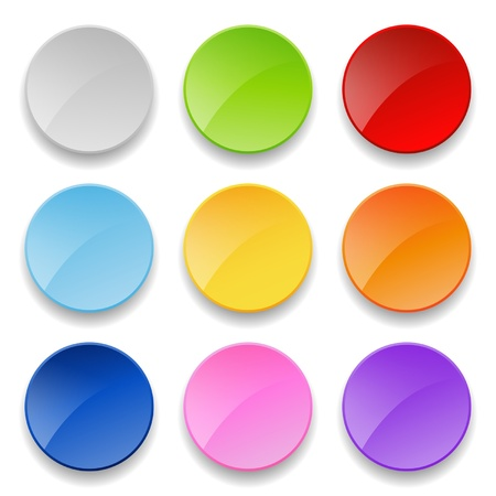 blue button: set of bright round buttons Illustration