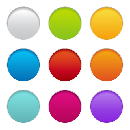 web design element: set of colorful paper buttons