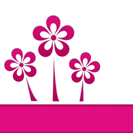 greeting card with pink flowers Vector
