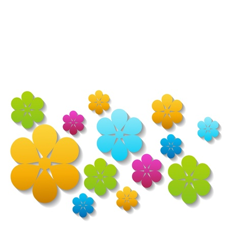 colorful flowers on the white Stock Vector - 18988801