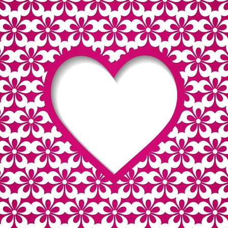 pink floral background witha heart frame Vector