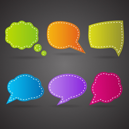 colorful speech bubbles on the black background Vector