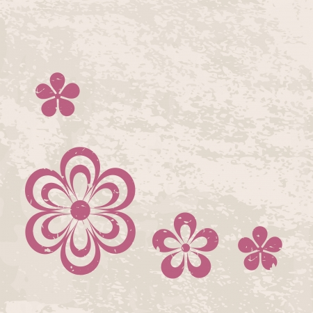 retro background with a border of flowers Vector