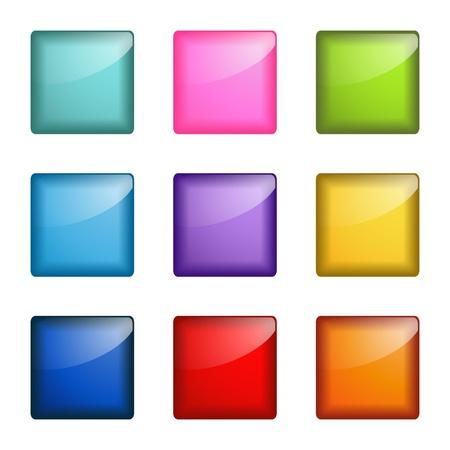 光沢のある正方形ボタン  イラスト・ベクター素材