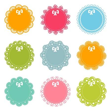 sew tags: set of round lacy frames