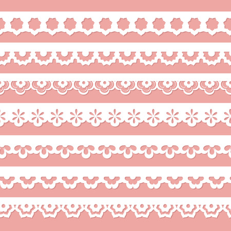 digital paper: white laces on the pink background Illustration