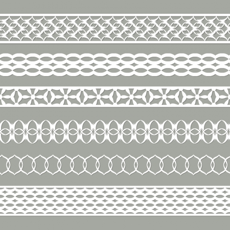 set of seamless paper border on the grey Illustration