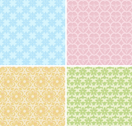 4 lacy seamless patterns Vector