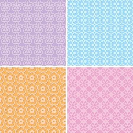 set of lacy seamless patterns Vector