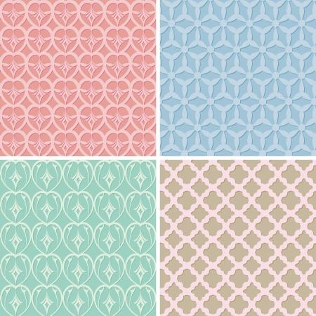 set of retro seamless pattern Vector