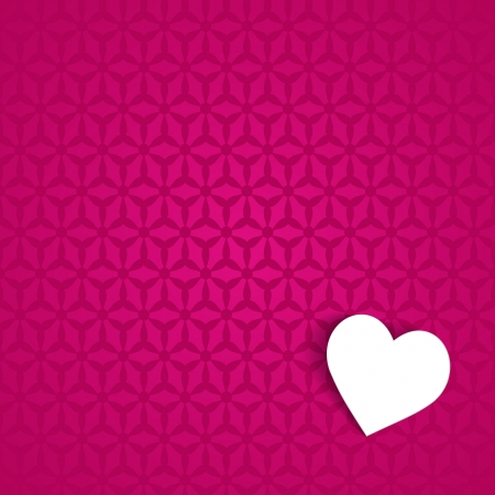 pink background with a pattern and a paper heart Vector
