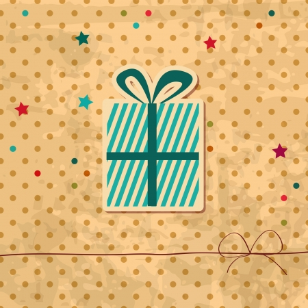 retro holiday background with a gift box Vector