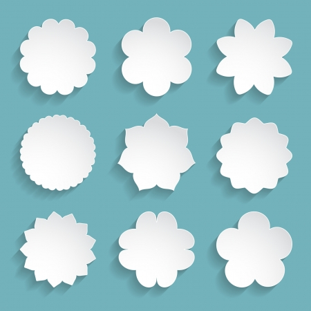 set of white paper floral frames Vector