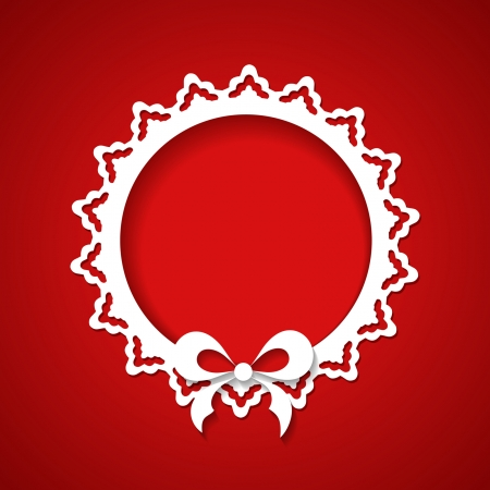 red background with a lacy frame Vector