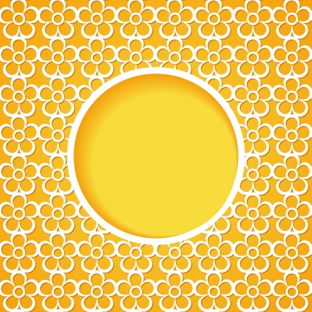 yellow floral background with a frame Vector