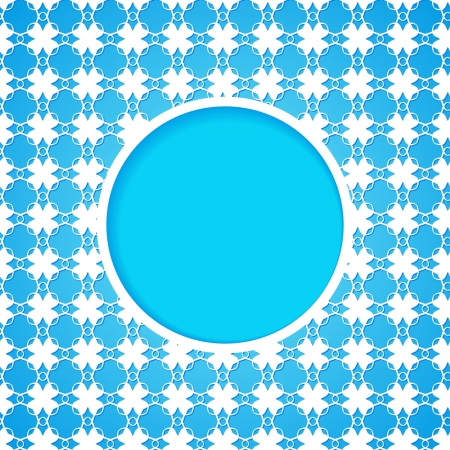 blue patterned background with a frame Vector
