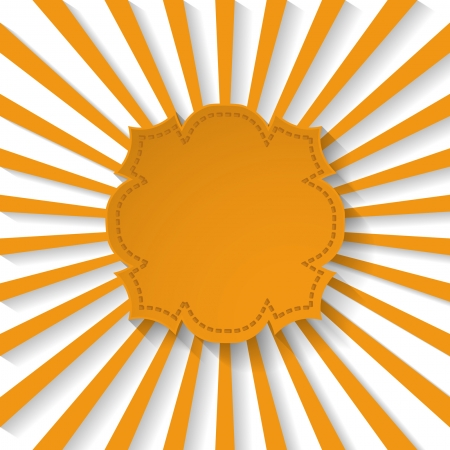 background with an orange frame and sun rays Vector