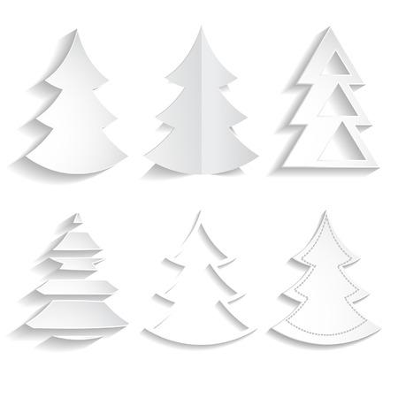 set of paper fir trees Vector