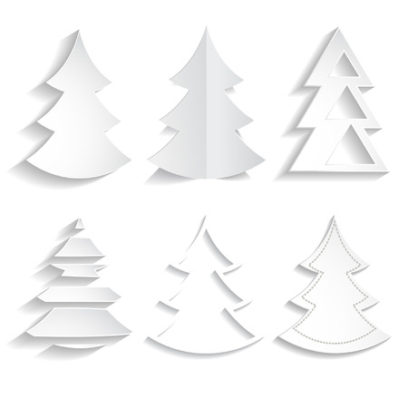 set of paper fir trees